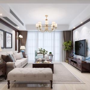 簡約美式客廳電視墻裝修效果圖