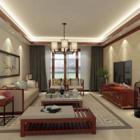 新中式客廳電視背景墻效果圖