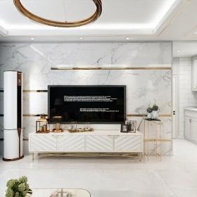 2021客廳簡約風格客廳大理石電視背景墻效果圖