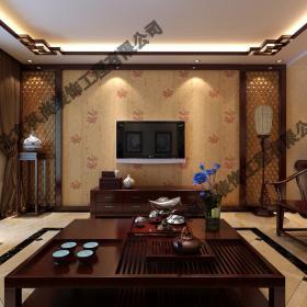 2021新中式客廳茶幾電視背景墻裝修效果圖