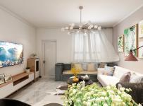 2021現代輕奢風格客廳沙發吊燈裝修圖片