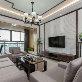 現代風格中式風格客廳