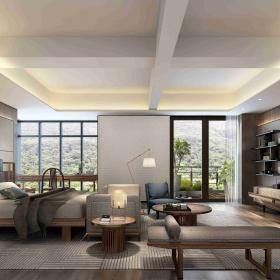 臥室客廳一體裝修設計效果圖片