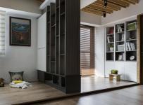 灰色系简约公寓装修书房图