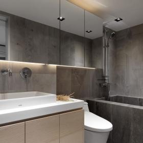 灰色极简住宅设计卫生间效果图