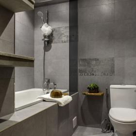 灰色系簡約公寓裝修衛生間圖
