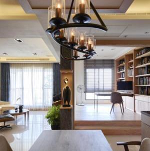 102平现代风格客厅书房隔断设计