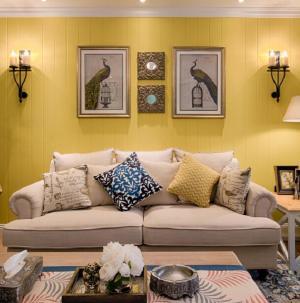 明亮混搭客厅沙发背景墙效果图