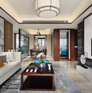 103平古色中式客厅吊顶效果图
