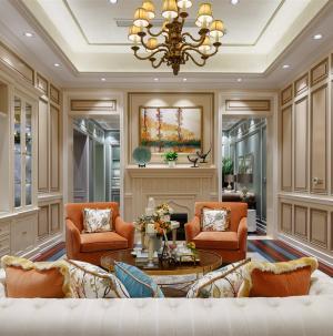 120平现代欧式别墅客厅效果图