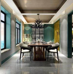混搭風兩室豪華餐廳餐桌圖