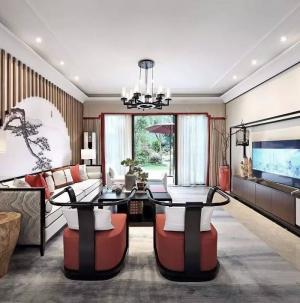 新中式別墅設計客廳效果圖