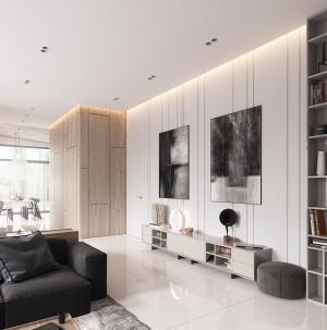 雅致简约现代客厅背景墙效果图