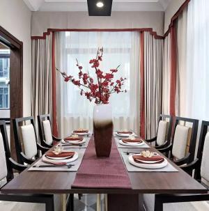 新中式別墅設計餐廳效果圖