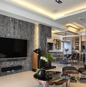 102平现代风格客厅背景墙效果图