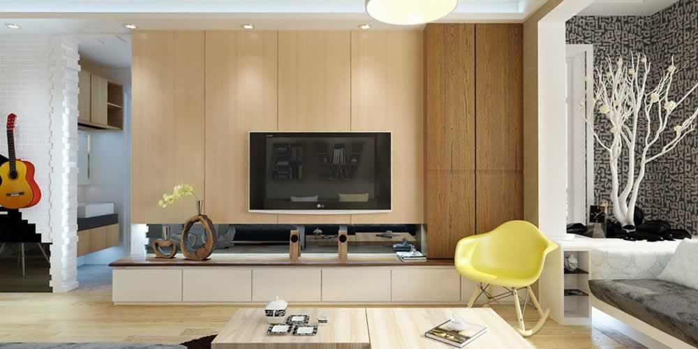 北欧简约风格客厅电视背景墙设计 维客网装修效果图