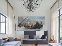 混搭風格客廳背景墻圖片