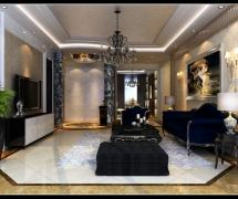 130平三居室简欧风格客厅沙发背景墙效果图