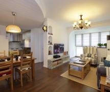 72平清爽地中海混搭美式客厅背景墙设计
