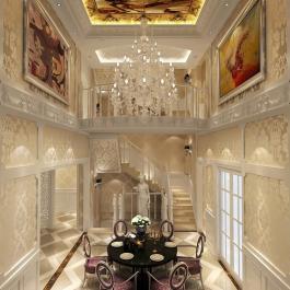 潮白河孔雀城伯顿庄园320平别墅欧式古典风格设计