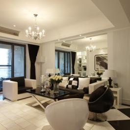 戴河水岸星城130平三居室现代风格装修效果图