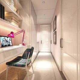 90平米简约风格粉色家居装修设计