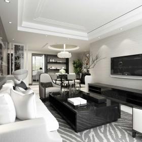 黑白美式简约客厅设计