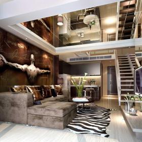 簡約躍層住宅客廳設計效果圖