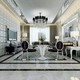 黑白歐式時尚客廳設計
