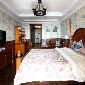 最新美式卧室背景墙壁画