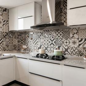 宜家風格廚房瓷磚效果圖