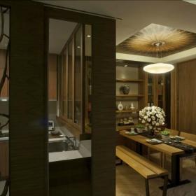 中式家装餐厅实木效果图