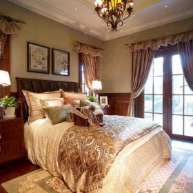 118平美式風格別墅臥室床上用品圖片