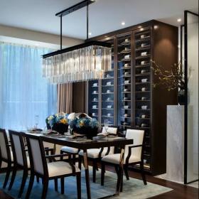 中式餐厅灯具设计酒柜装修效果图