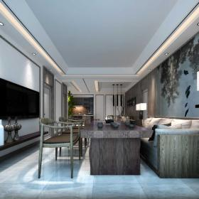 新中式設計客廳沙發背景墻