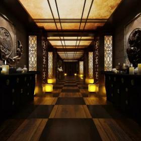 中式会所室内过道工装图片