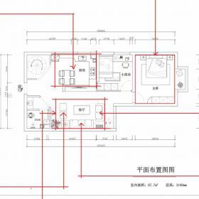 簡約裝修兩室一廳平面設計圖紙