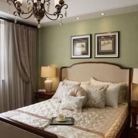 美式卧室床头背景墙挂画