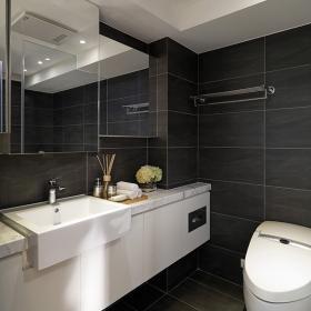 衛生間暗色瓷磚布局