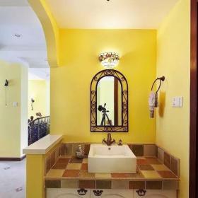 明亮混搭衛生間洗手盆設計