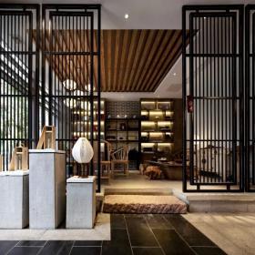 茶館展示空間博古架設計