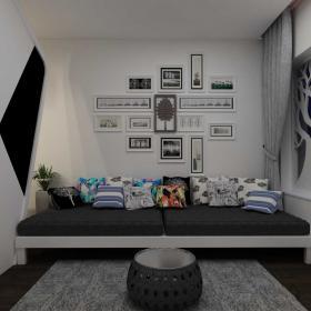 簡約風格創意沙發照片墻設計