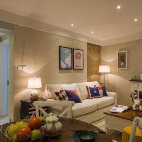 65平美式家居客廳設計