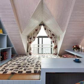 110平米美式小清新風格三居室閣樓榻榻米設計