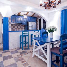 180平地中海蓝色风情餐厅吊顶