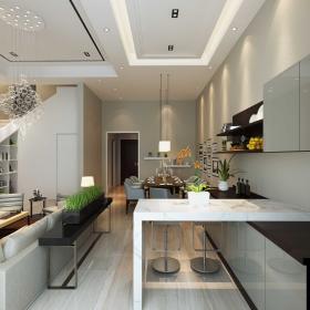 簡約風格躍層住宅餐廳吧臺設計效果圖