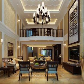 躍層住宅歐式客廳吊頂圖片