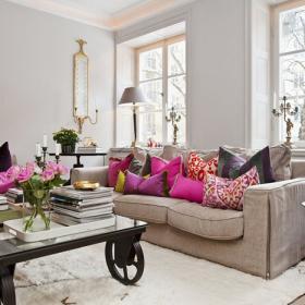 斯堪的納維亞風格明亮舒適住宅客廳