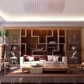中式客廳博古架設計