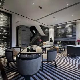 102平现代中式客厅酒柜效果图